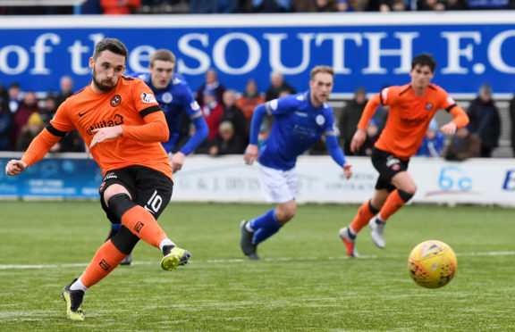 Nicky Clark scores from the spot at the weekend.