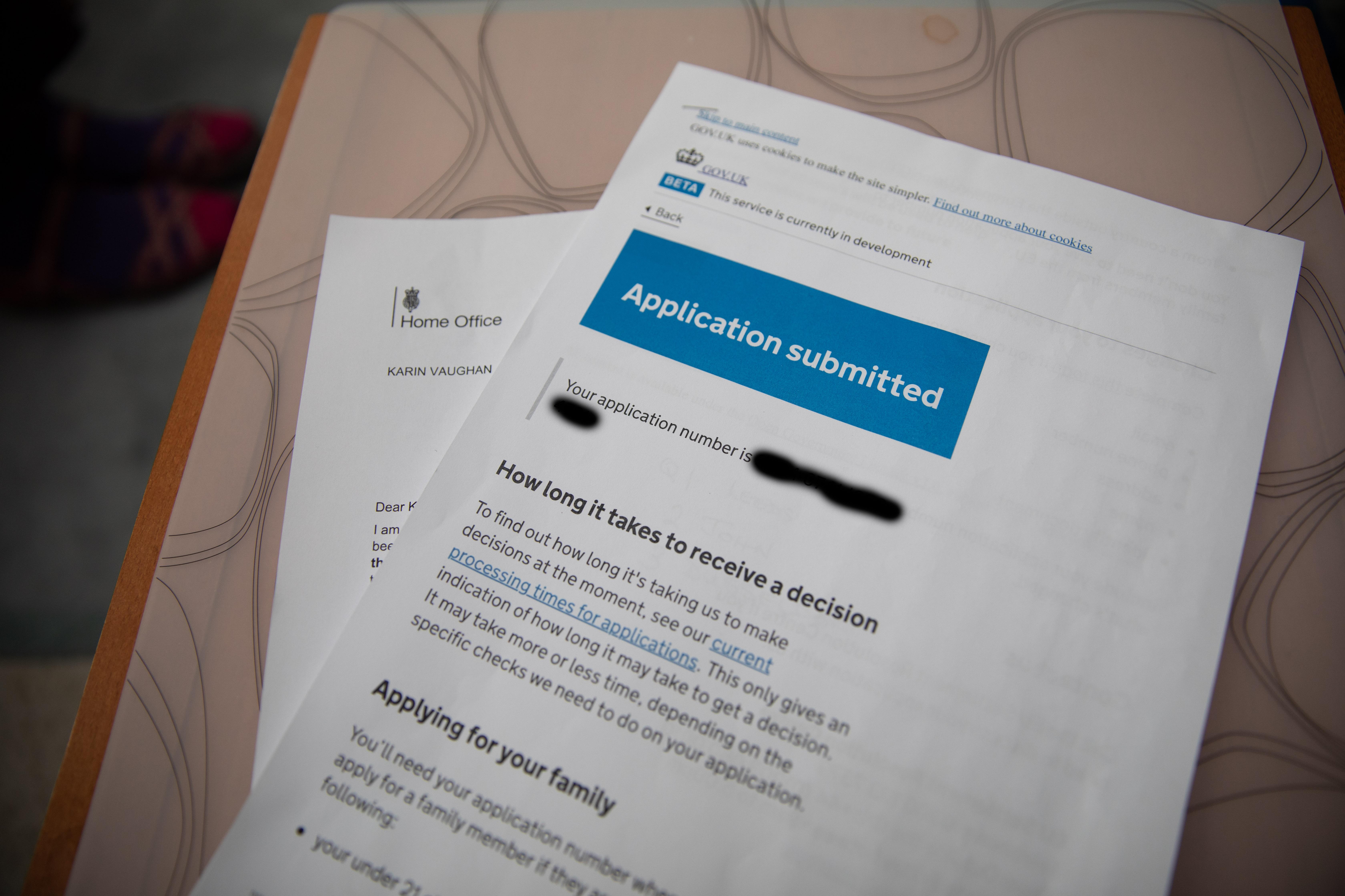 Settled Status paperwork.