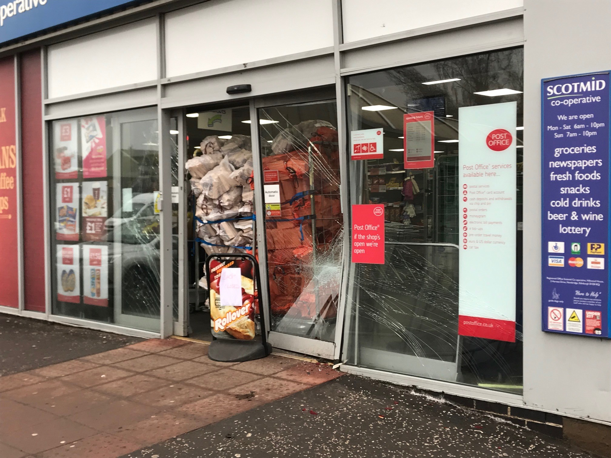 Scotmid in Coupar Angus after the incident.