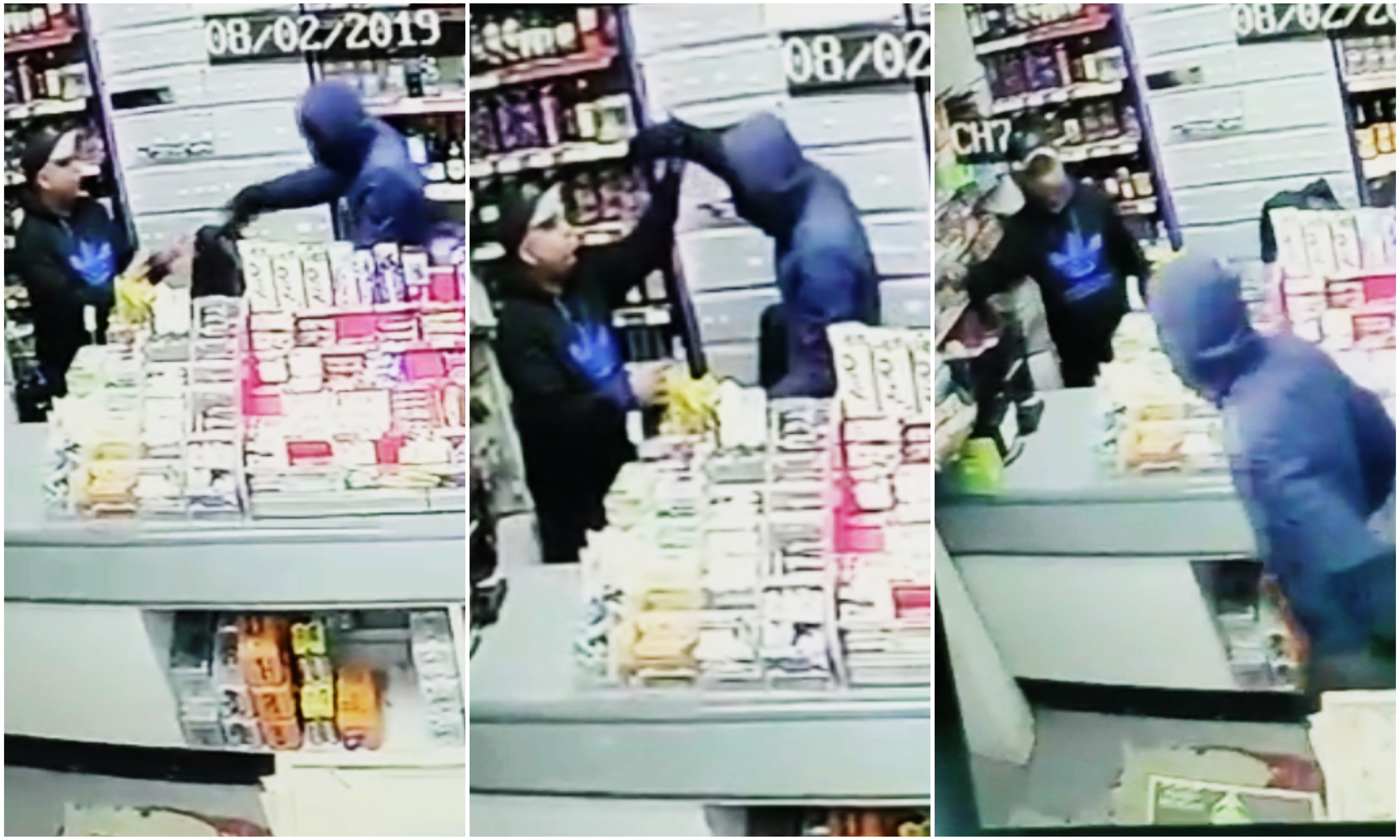 The robber threatens the shopkeeper and demands items before fleeing the shop.