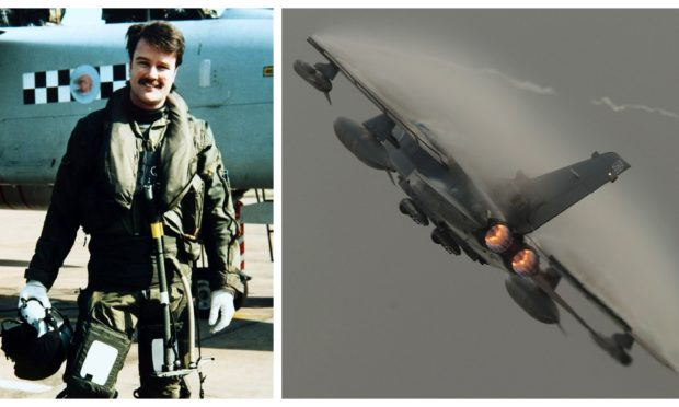 Dougie Nicolson about to go on the trip of a lifetime in a Tornado jet in 1995. Right: One of his favourite photos that he has taken - of a Tornado at the Leuchars Airshow in 2010.
