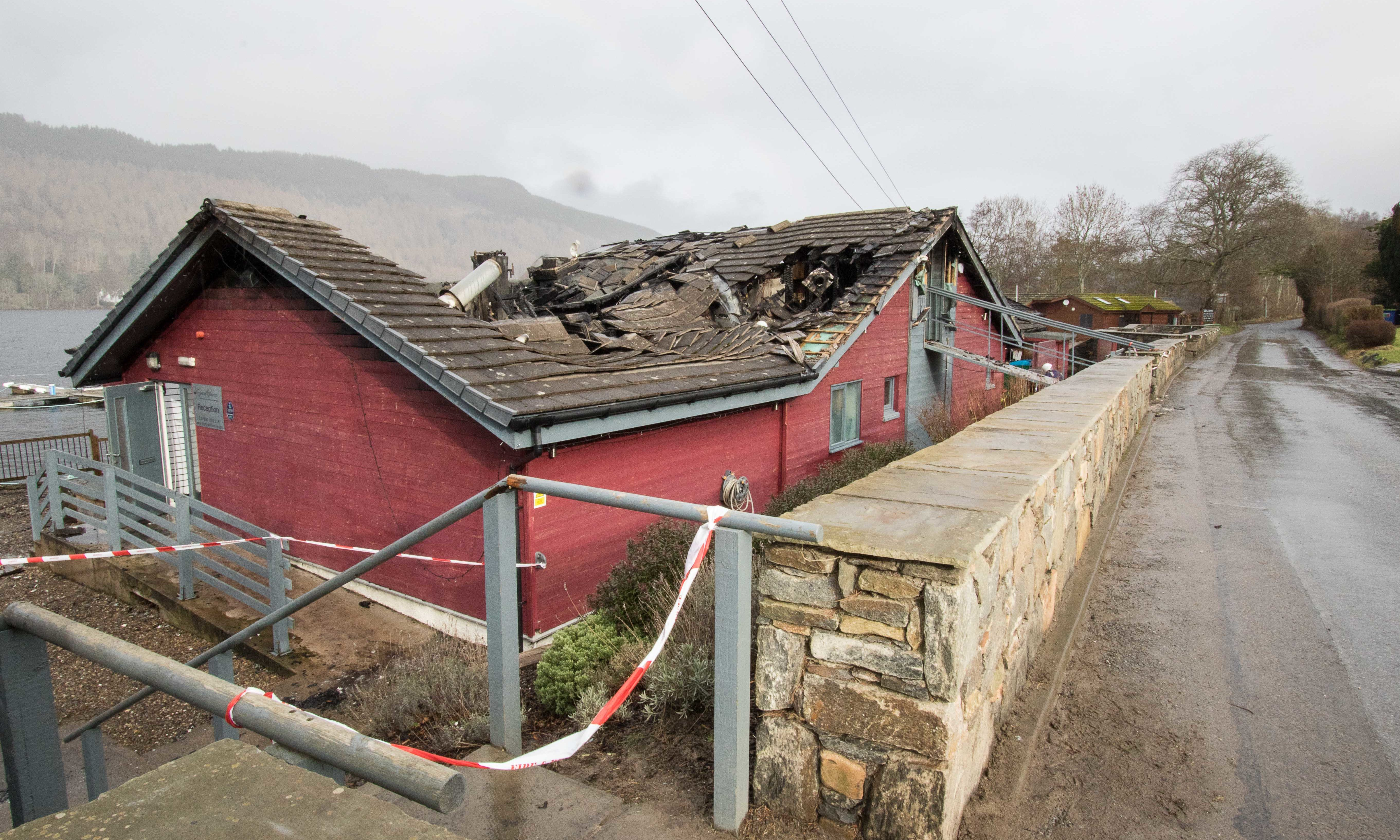 The damage done to the Taymouth Marina restaurant by yesterday's fire.
