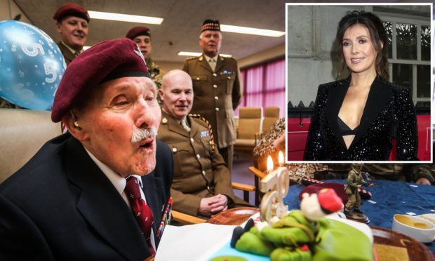 Eric Tandy blowing out his candles to celebrate his 95th birthday. His amazing story has been praised by TV star Kym Marsh (inset).