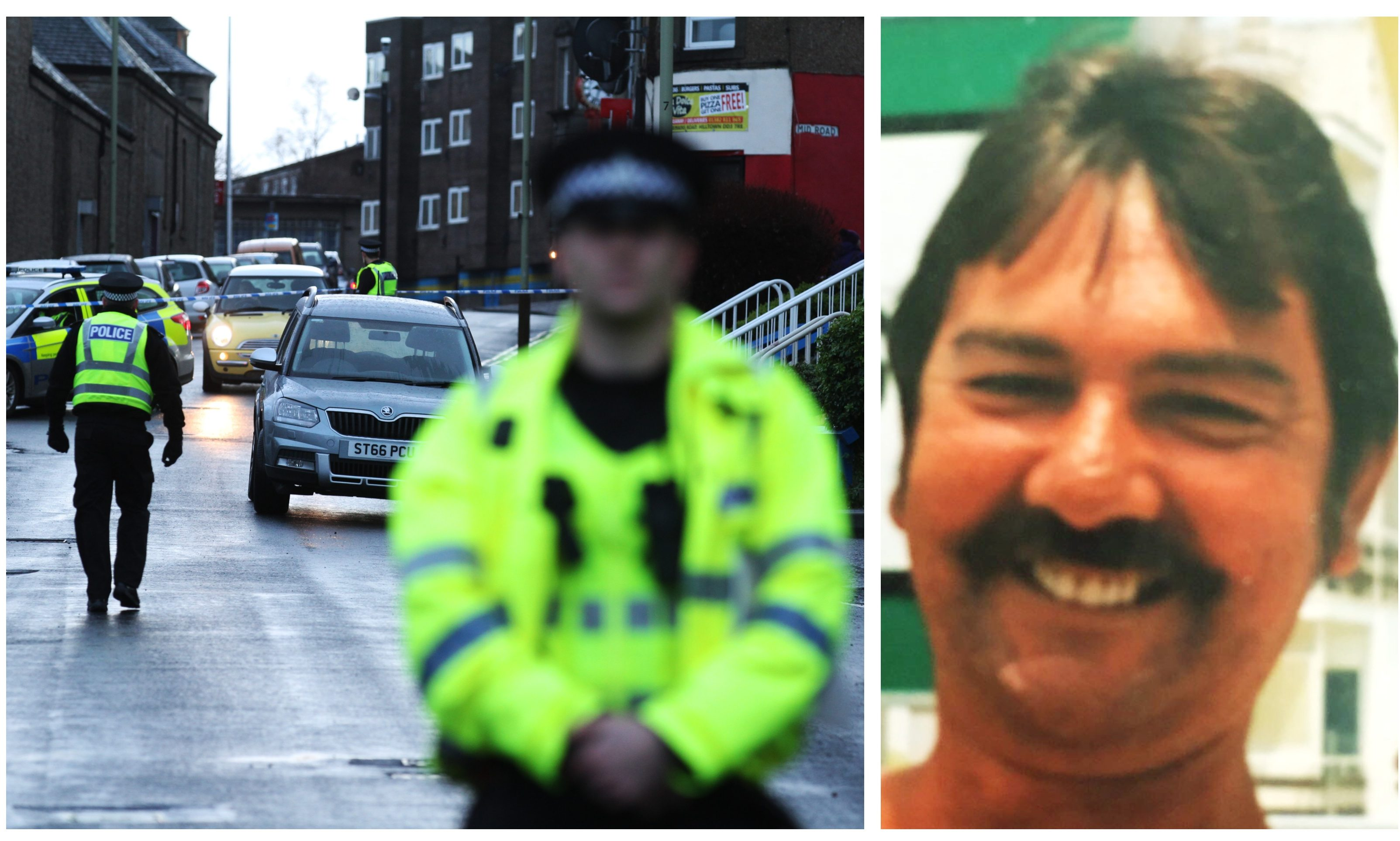 Police on Mains Road, Dundee, and John Ogston (right).