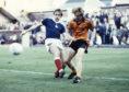 Graeme Payne in action against Falkirk in 1982.