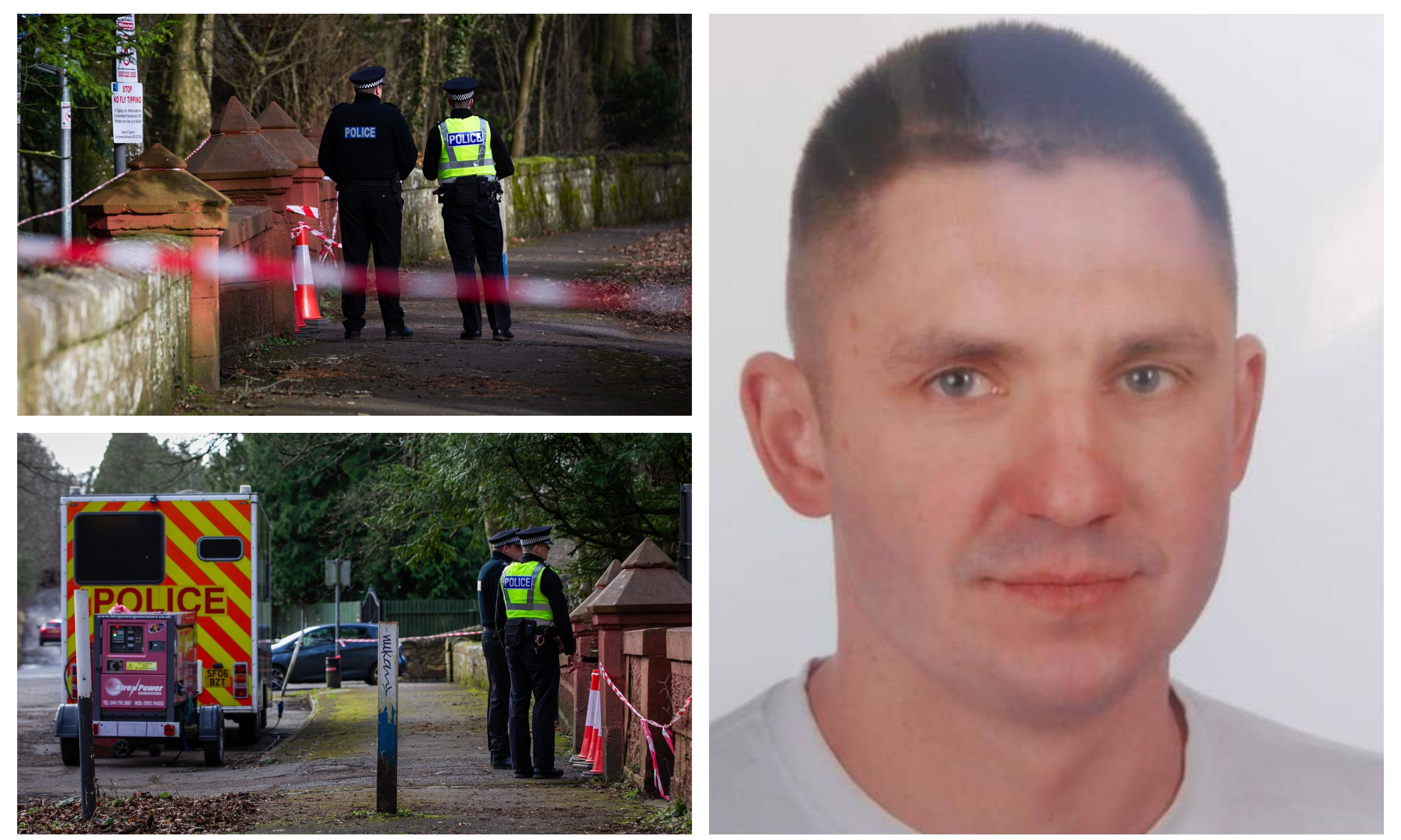 Rafal Lyko and police at Greenhall Park in Blantyre where his body was found.