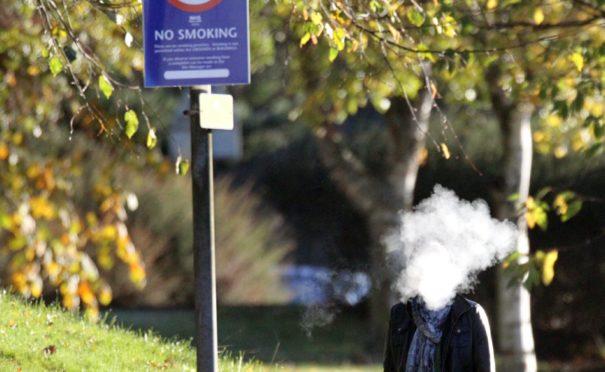 Smoking on the grounds of Ninewells Hospital.