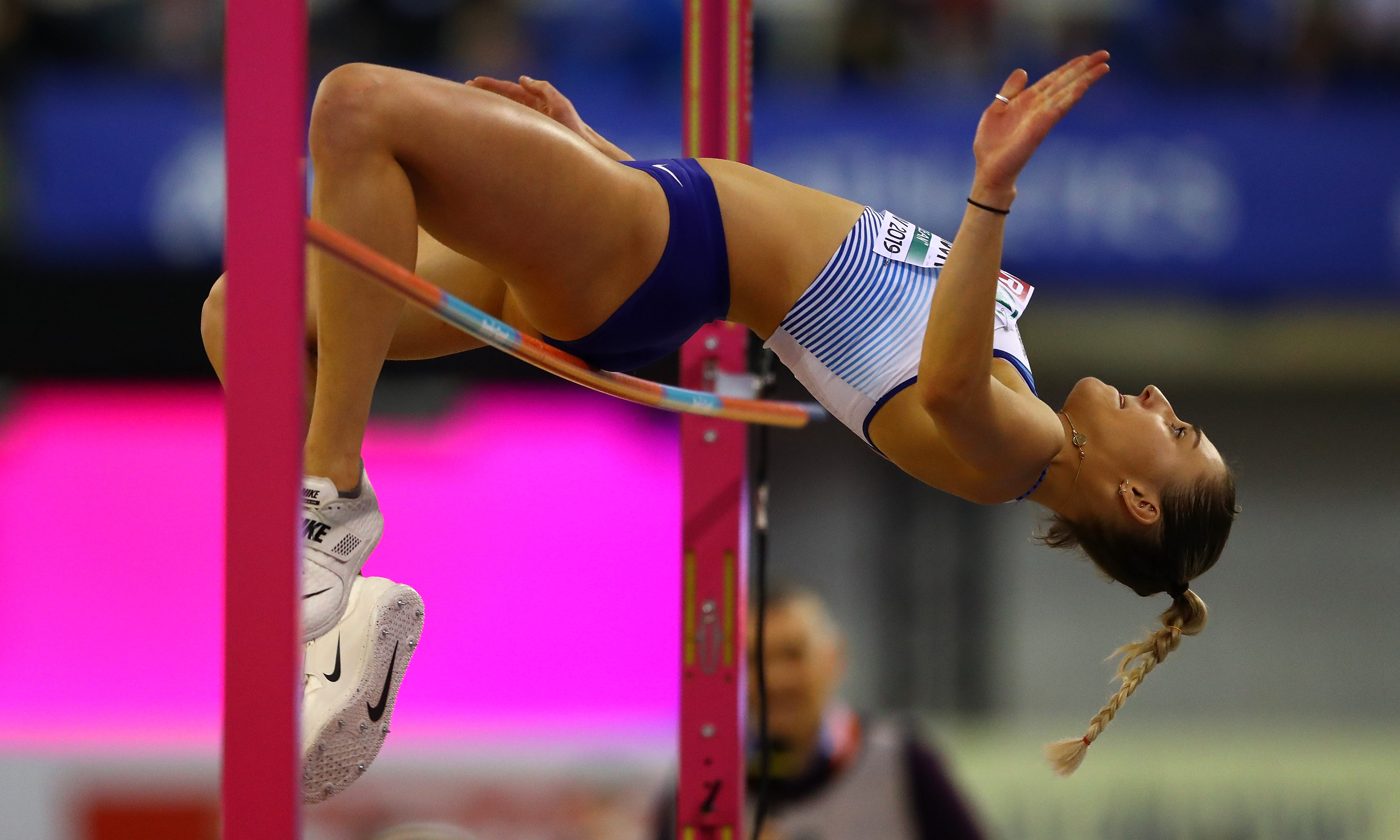 Niamh Emerson of Great Britain in action during the women's pentathlon high jump on day one of the 2019 European Athletics Indoor Championships at Emirates Arena on March 1, 2019 in Glasgow.