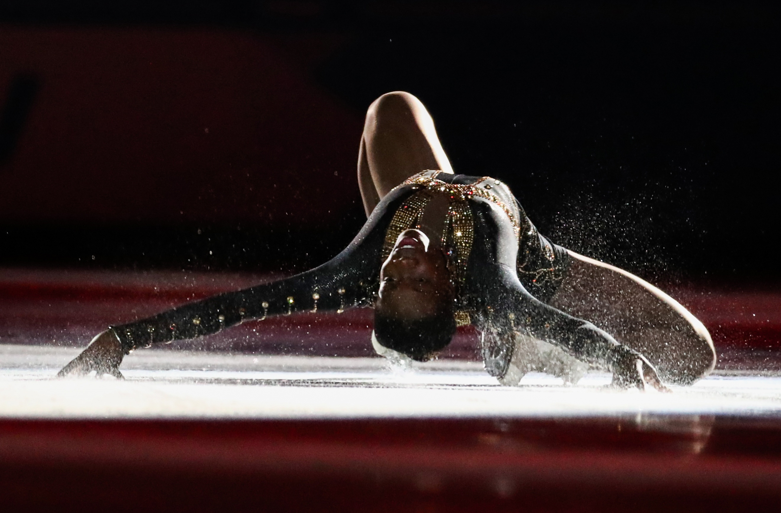Figure skater Mae-Berenice Meite of France performs during an exhibition gala at the 2019 Winter Universiade.