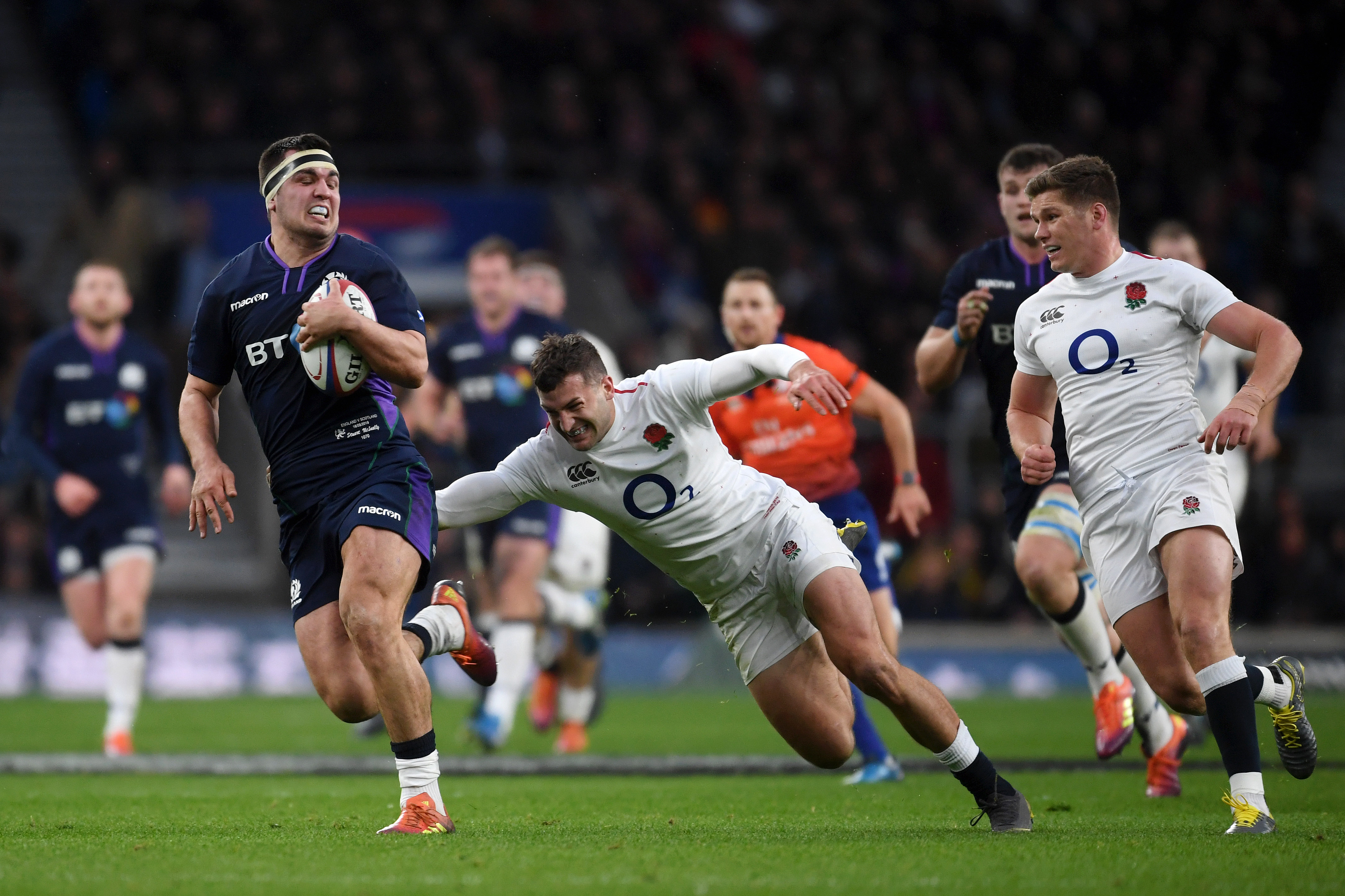 Captain Stuart McInally breaks away from Jonny May to launch Scotland's incredible comeback.
