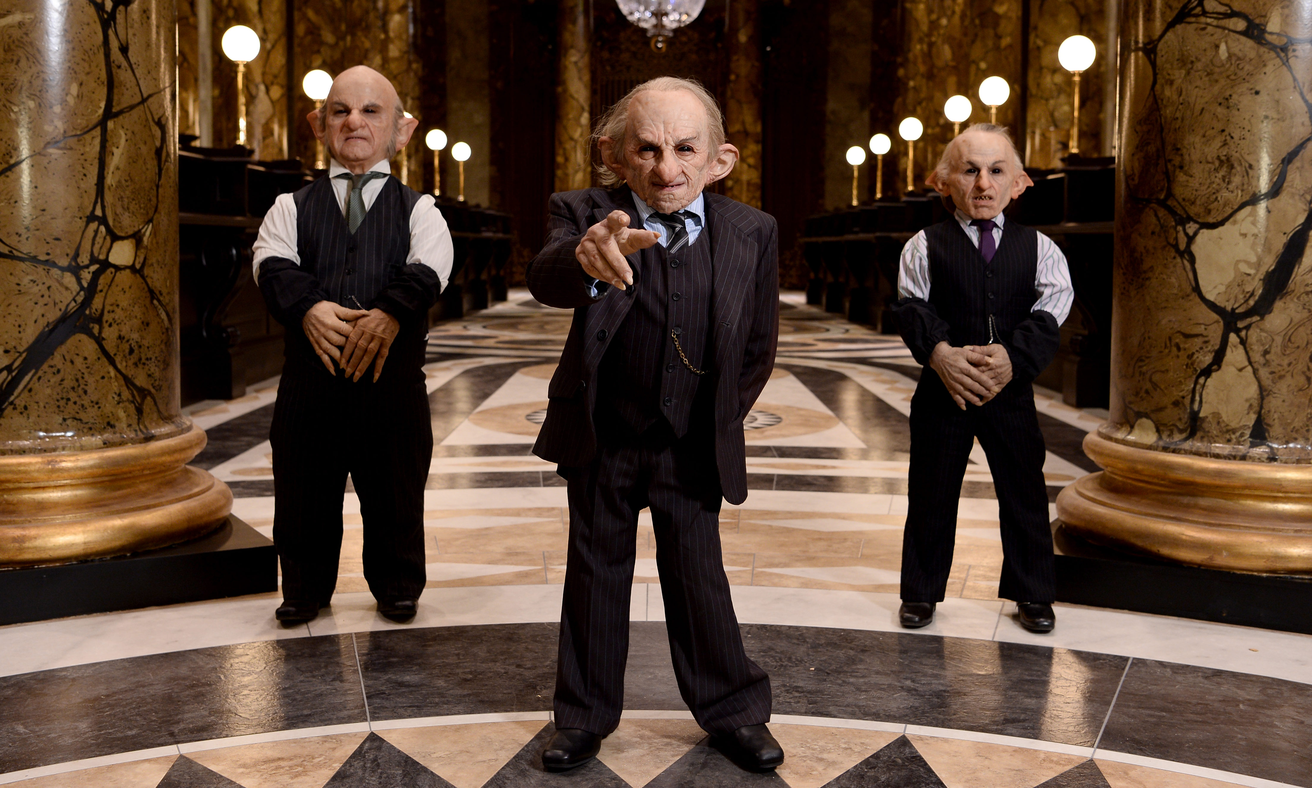 Goblins in the original Gringotts Wizarding Bank set at Warner Bros protect the vaults.