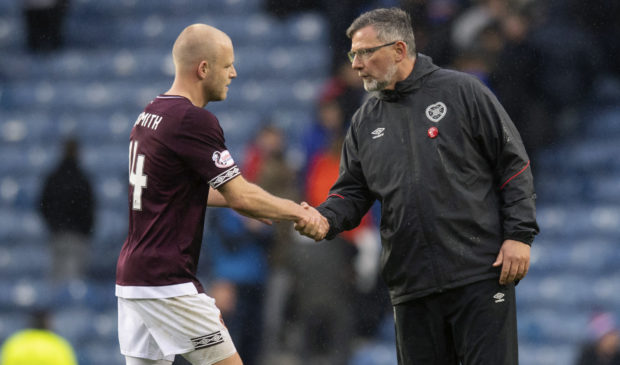 Steven Naismith (L) with Craig Levein at full-time.