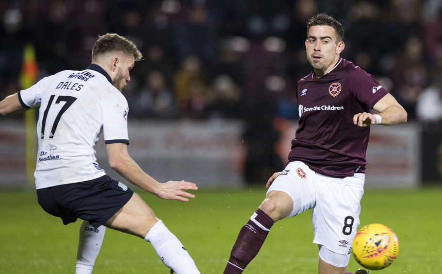 Olly Lee in action for Hearts.