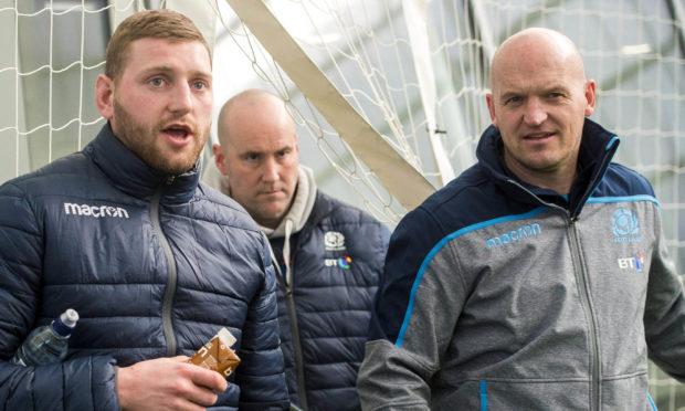 Scotland's Finn Russell (left) with head coach Gregor Townsend.