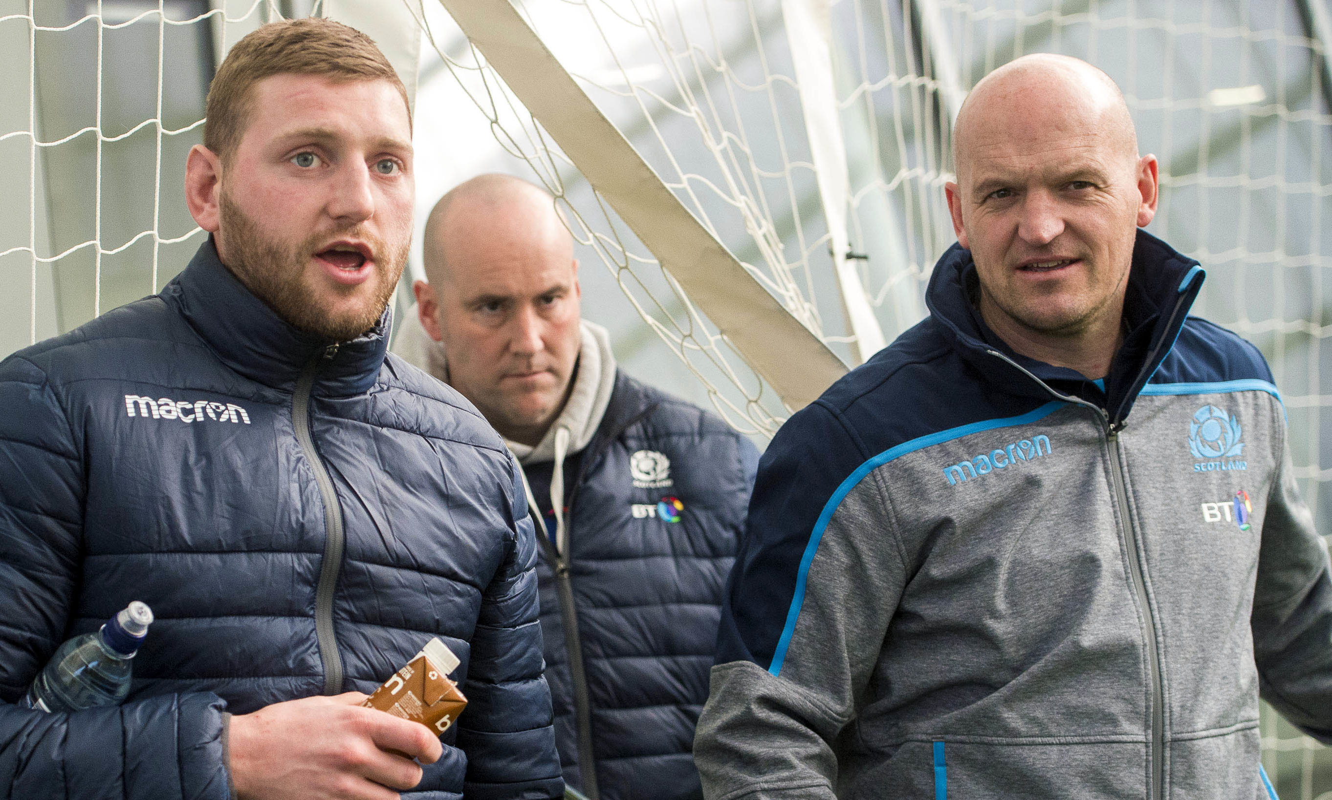Scotland's Finn Russell (left) with head coach Gregor Townsend.