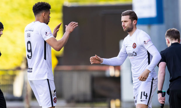 Dundee United's Osman Sow is replaced by Pavol Safranko on Saturday at Partick Thistle.