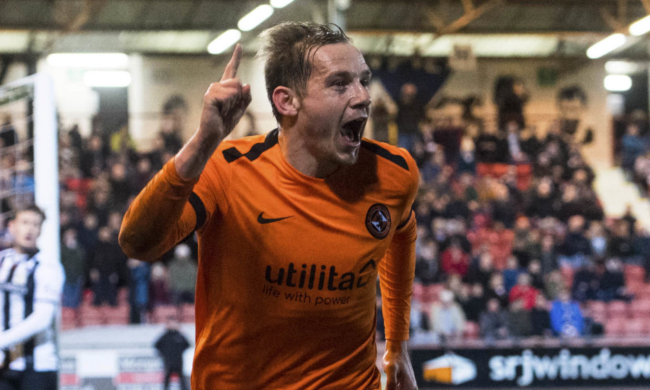 Dundee United's Peter Pawlett celebrates his goal to make it 1-0