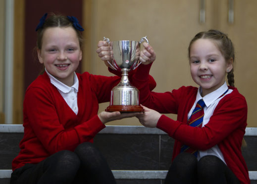 Iona Clarke (left) and Harlow Watson, of Burnside Primary School, Carnoustie, who won the Class 75 piano duet.