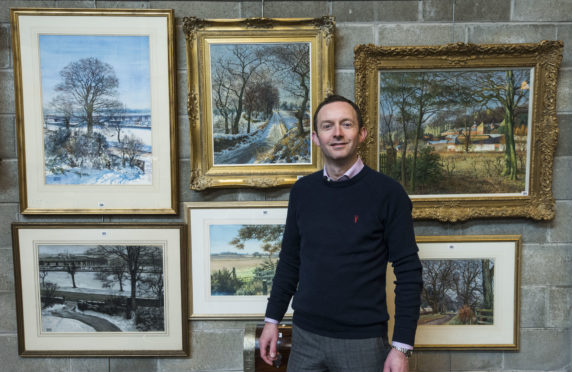 Stephen Dewar from Curr and Dewar auction house in Dundee with some of the 11 McIntosh Patrick originals he has for sale.