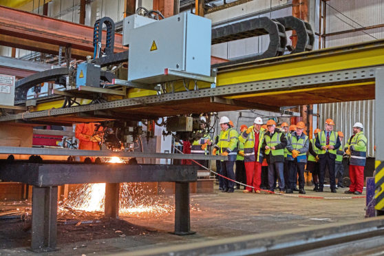 First steel is cut at BiFab Arnish for GeoSea Moray wind farm