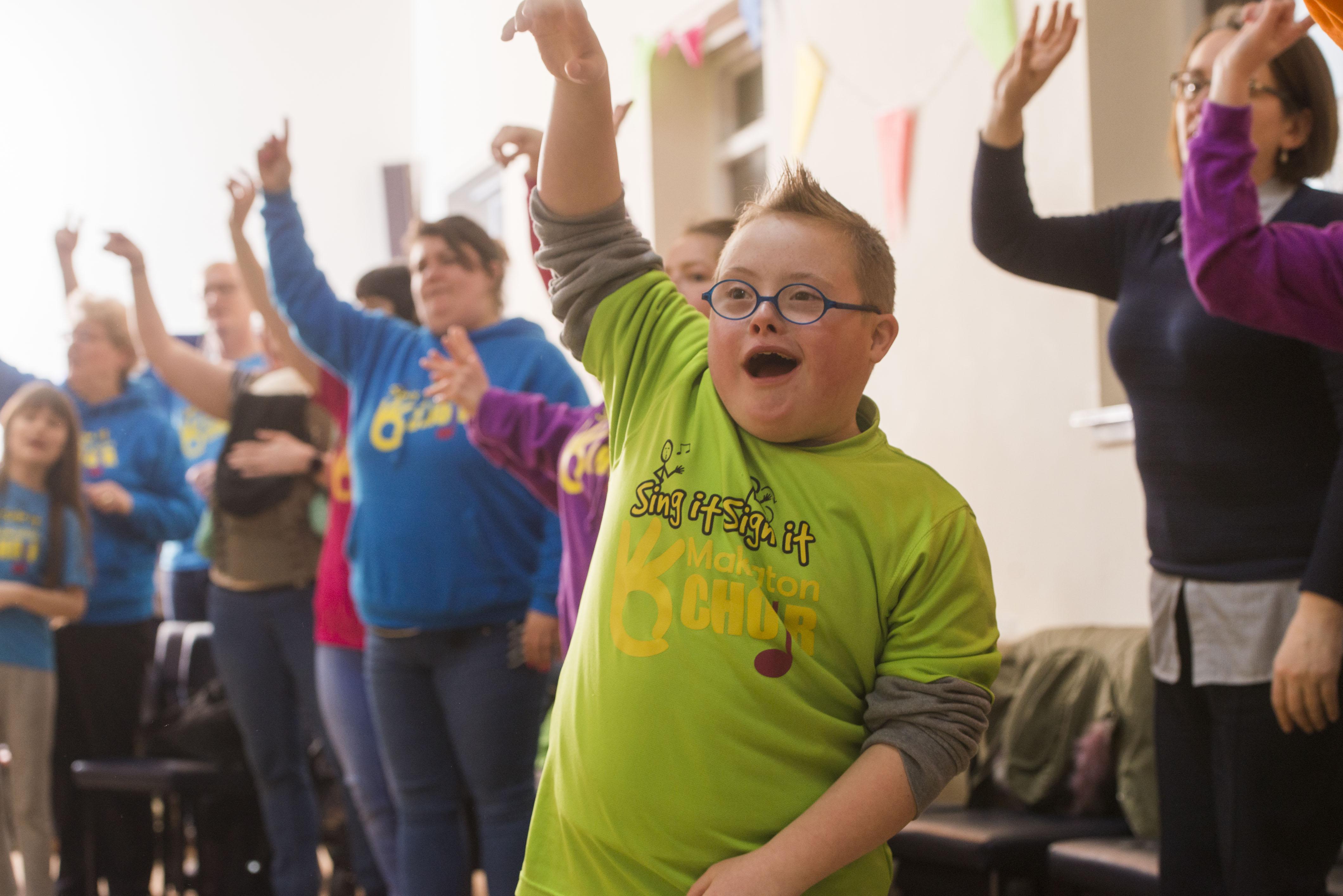 Ben Baxter,10, at the choir practice.