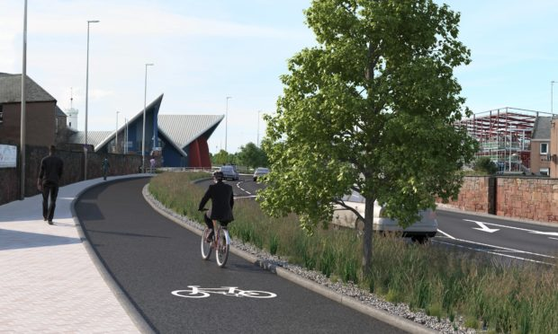 An artist's impression of proposed improvement work on the A92 near the harbour.