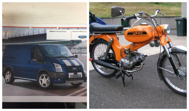 The blue Ford Transit van was stolen from Pitlochry, containing an orange moped.