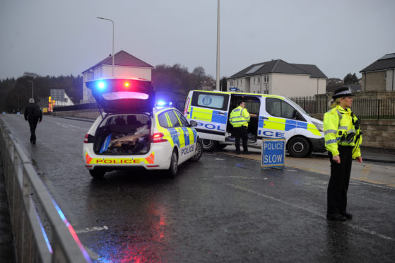 Police at the scene of the crash on Oriel Road, Kirkcaldy.