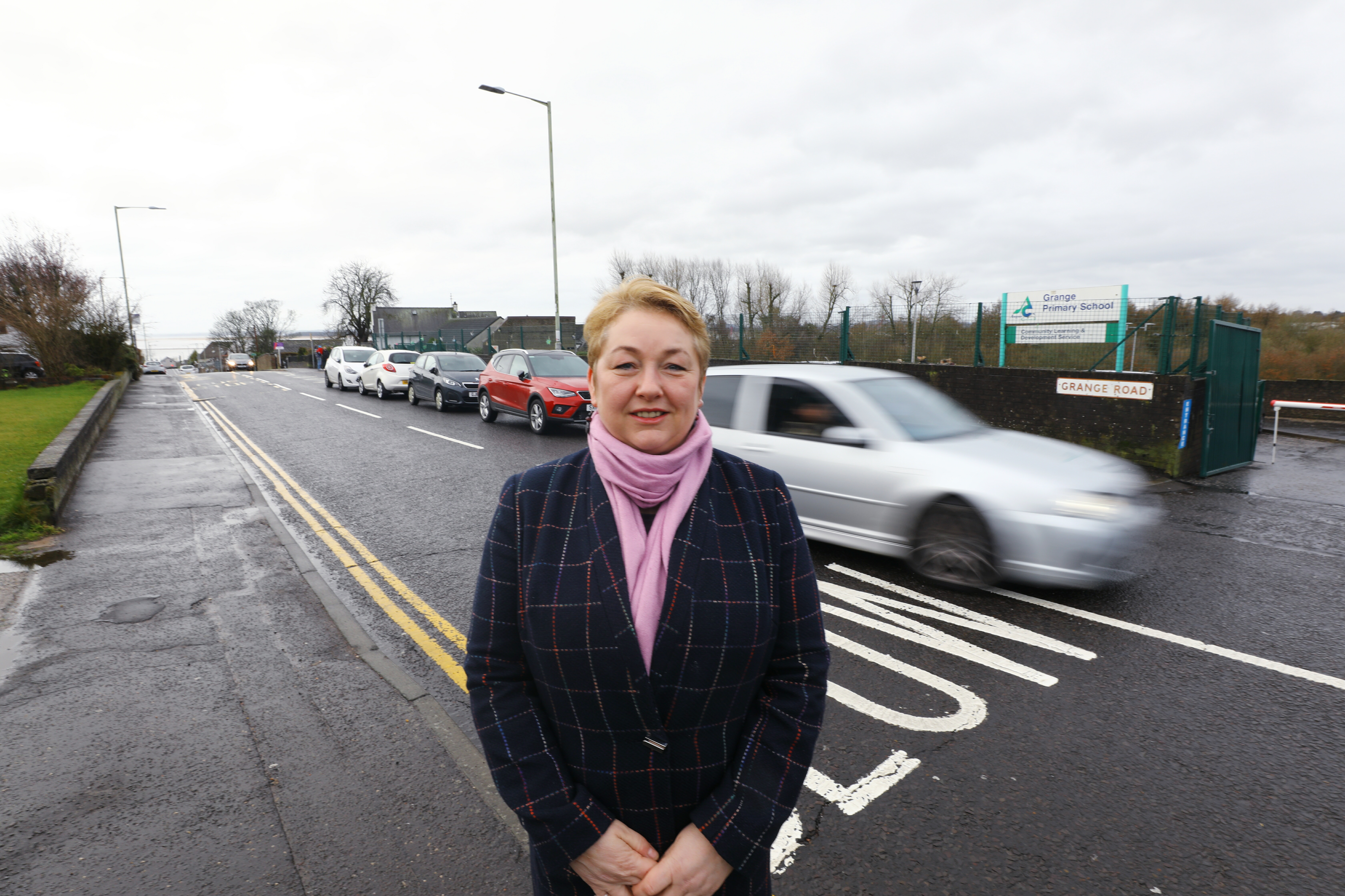 Angus Councillor Beth Whiteside outside Grange Primary School in Monifieth.