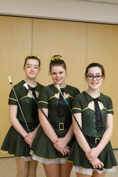 The winners of the Twirling Group - Juniors ages 12 to 15, L/R, Grace Bland, Brooke Cadger and Emma Fletcher from Lochleven Diamonds Baton Twirlers.