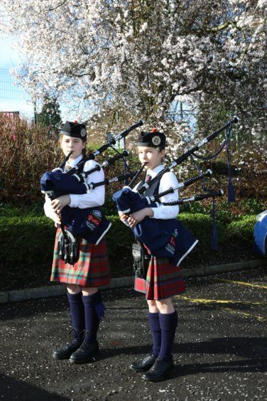 Competitors in the Bagpipe Classes, Brodie Barrie, left and Isla Fletcher, both from the Vale Of Atholl Pipe Band, at Perform in Perth, at the Glenearn Community Campus in Perth today.