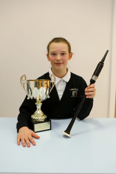 Winner of the Practice Chanter class, Ceara Gow, age 11, at Perform in Perth, at the Glenearn Community Campus.