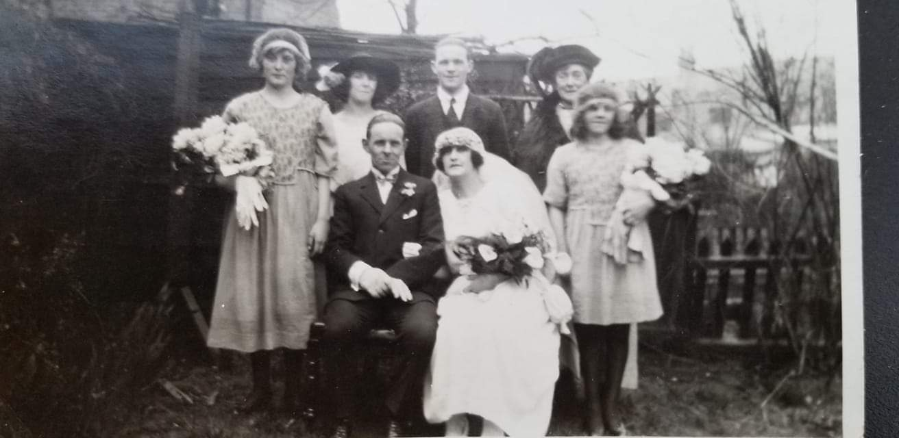 The wedding of William George Grant Easton and Mabel Cox, son of William and Jane Easton, on April 5 1922, Surrey, England. William  is the grandfather of Bill Easton who is coming from the USA for the ceremony.