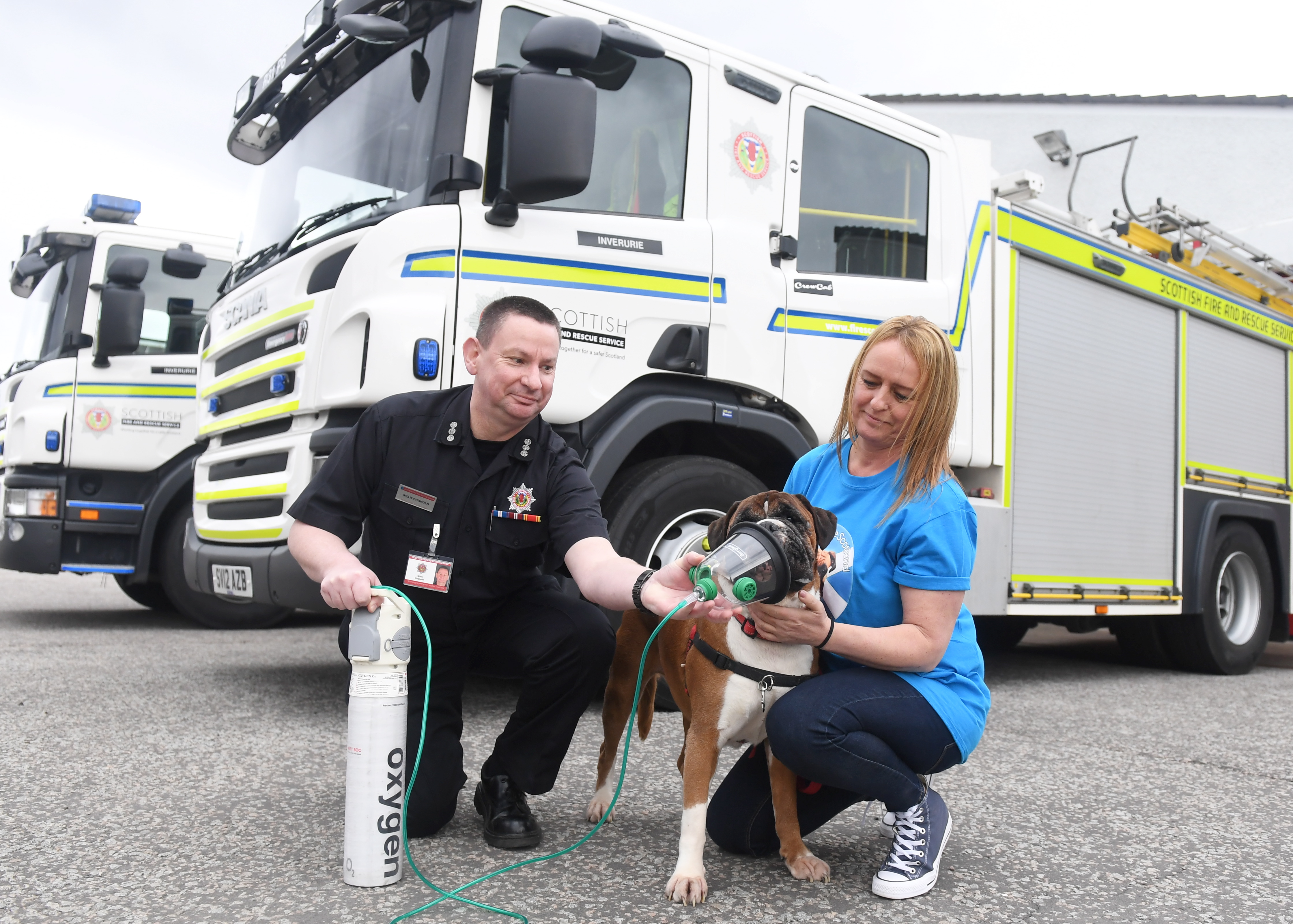 """Boxer Welfare Scotland  recently donated 12 """"Smokey Paws"""" kits to the Scottish Fire and Rescue Service in the north east of Scotland"""