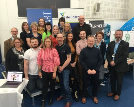 Fife College students who created interactive stop smoking tools.