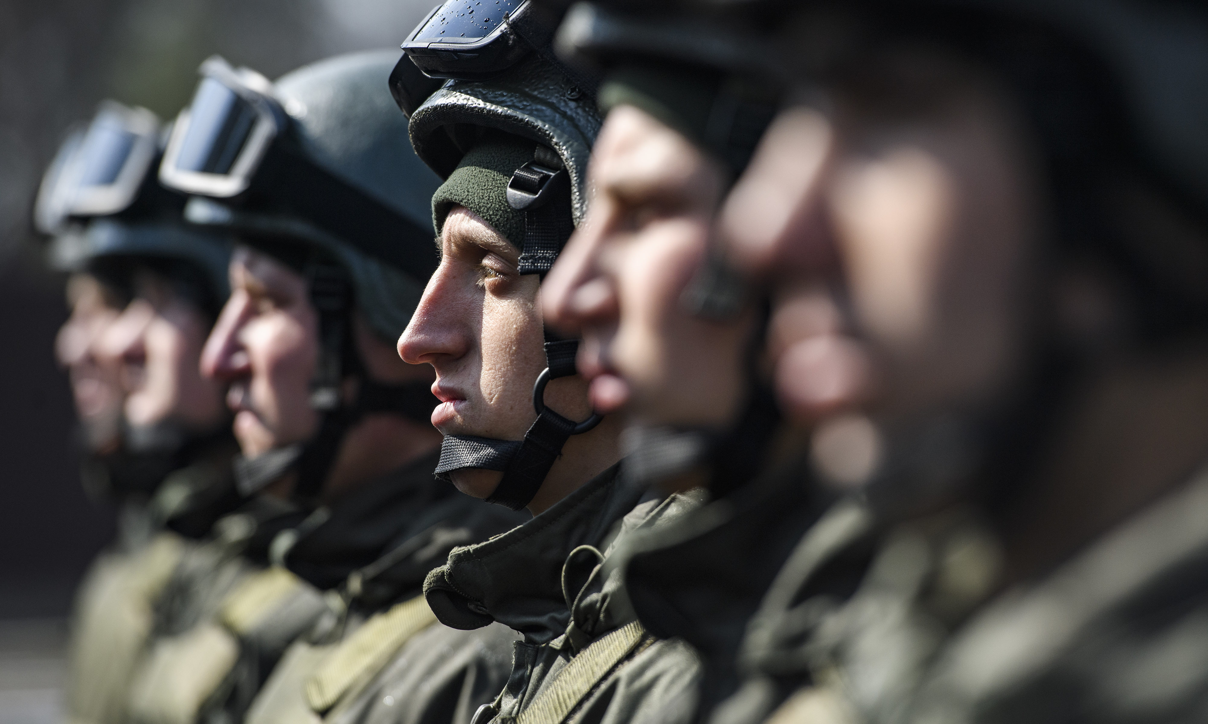 Servicemen during The celebrations on the occasion of the 5th anniversary of the National Guard of Ukraine, Kyiv, Ukraine.