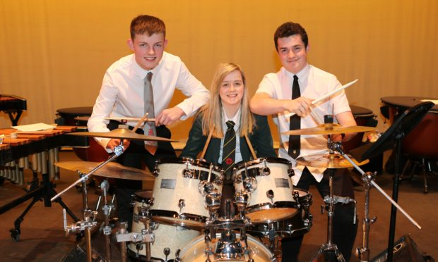 Josh Craigie (16) Carnoustie High, Abaigh McMenaman (16) Arbroath High & Ryan Cull (17) Arbroath Academy , competed in the class 110 Drumkit competition at the festival.