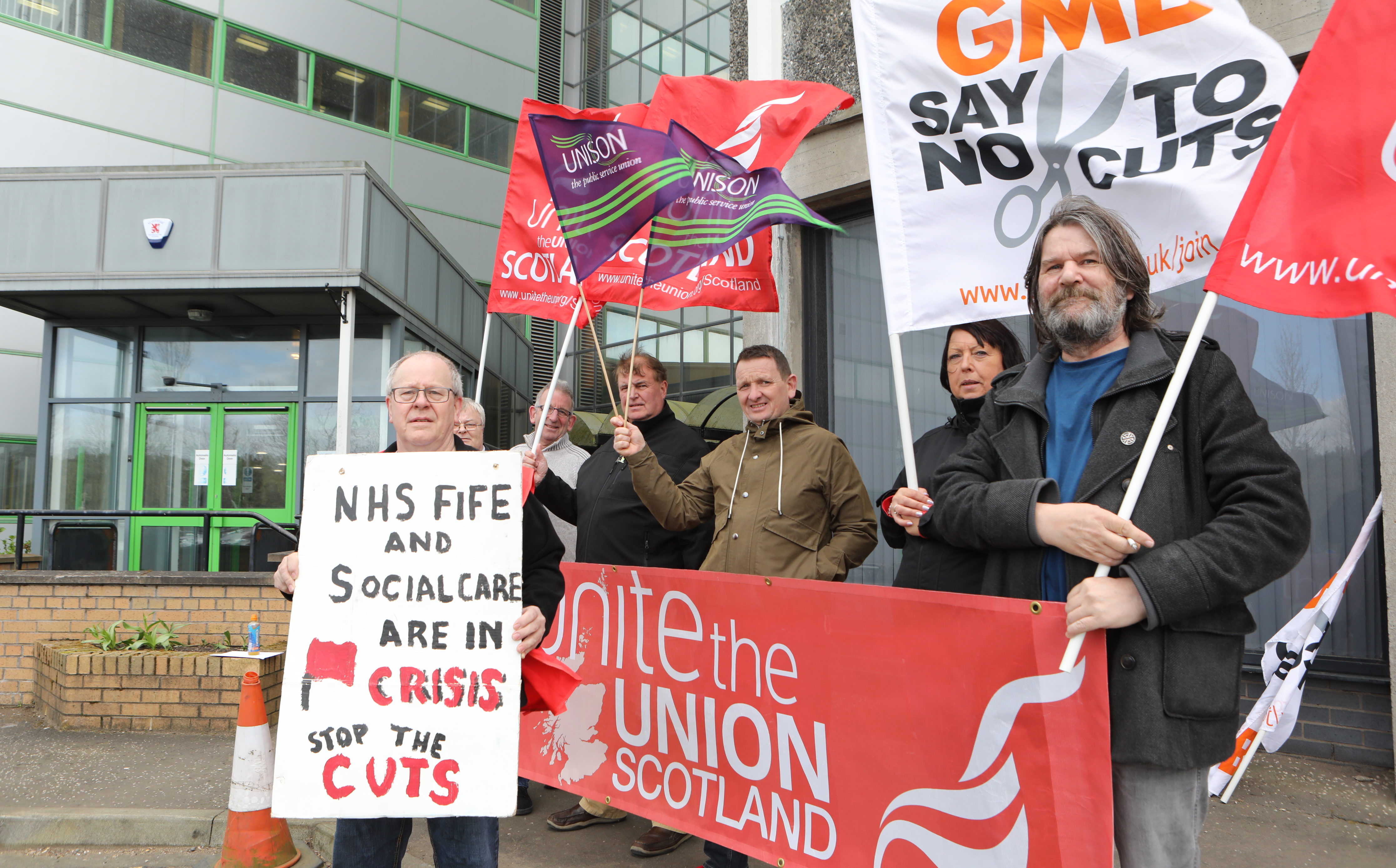 Protesters outside Fife House in Glenrothes
