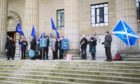 The pro-EU group outside the Caird Hall ahead of the Scottish Labour conference.
