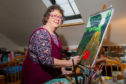 Alison Chandler at work in her studio in Johnshaven.