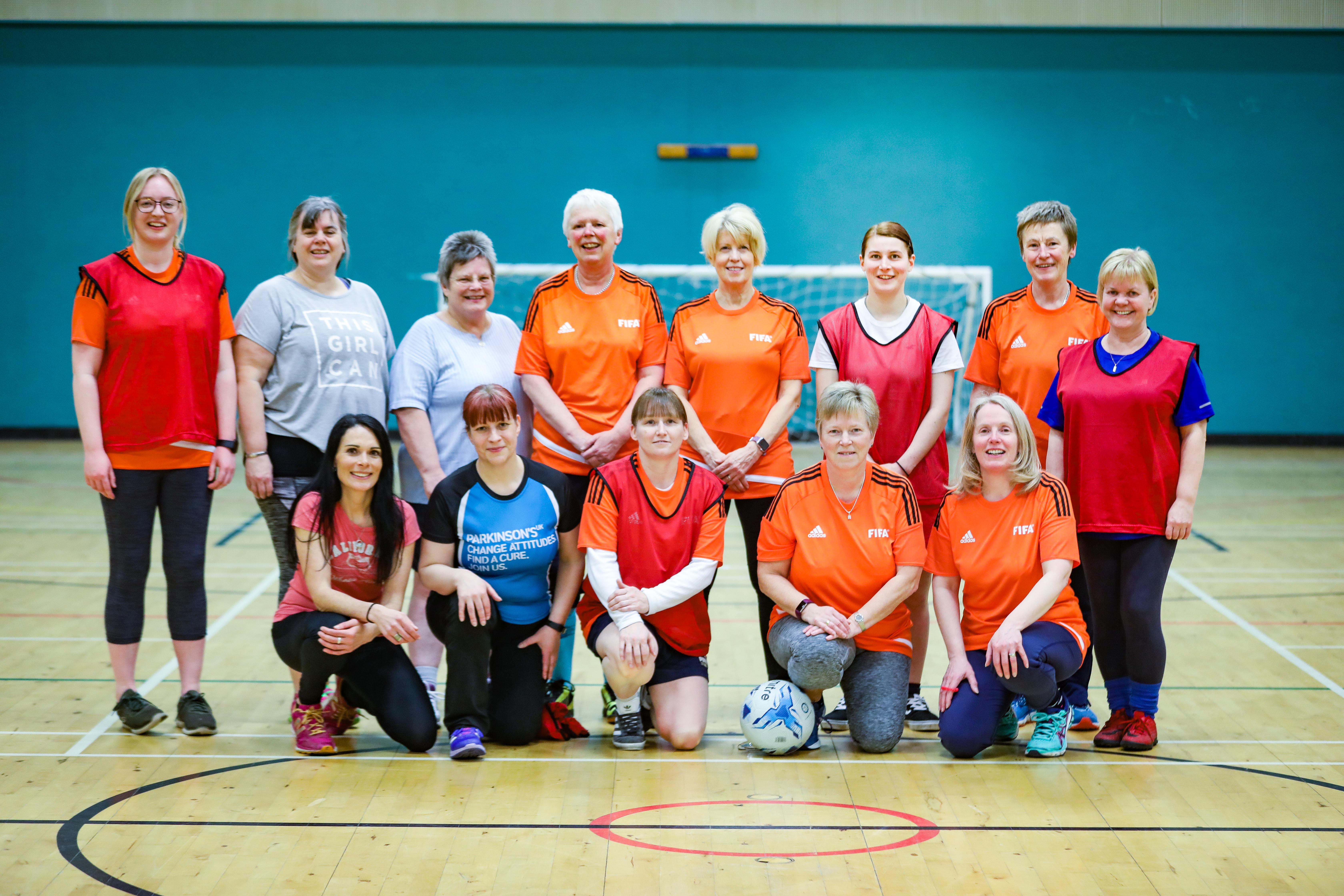 Gayle with women members of Scone Walking Football.