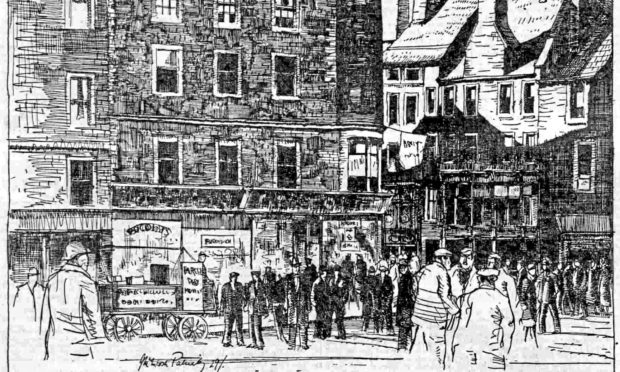 A street scene in central Dundee drawn by James McIntosh Patrick for his 1929-30 series for The Courier.
