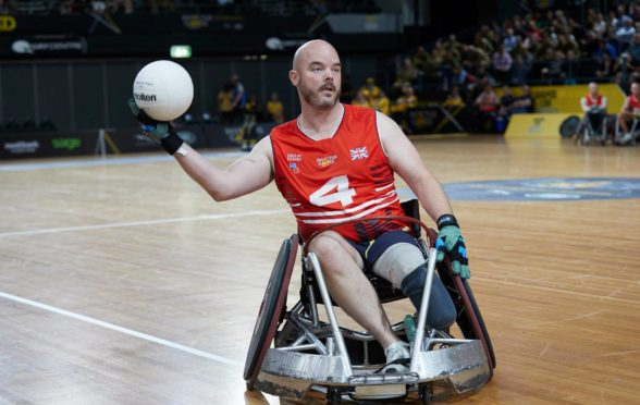 Michael in action in the rugby final