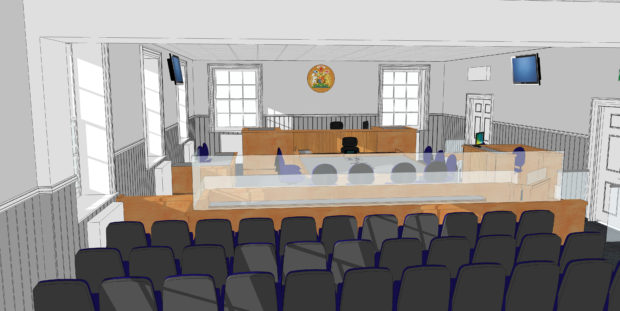 An impression of the new sheriff and jury courtroom.