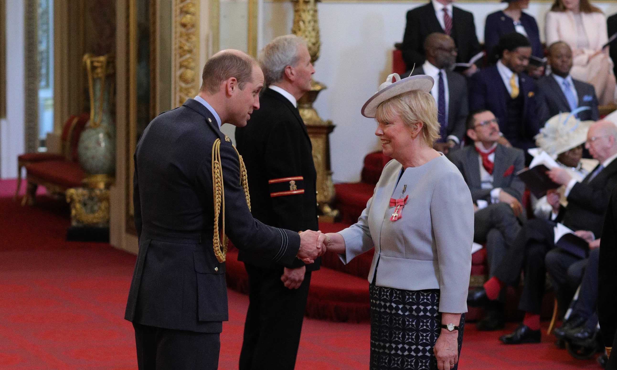 Elaine Wyllie from Burntisland is made an MBE (Member of the Order of the British Empire) by the Duke of Cambridge at Buckingham Palace.