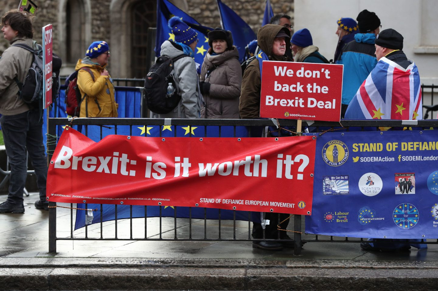 Anti-Brexit supporters on College Green in Westminster, London.