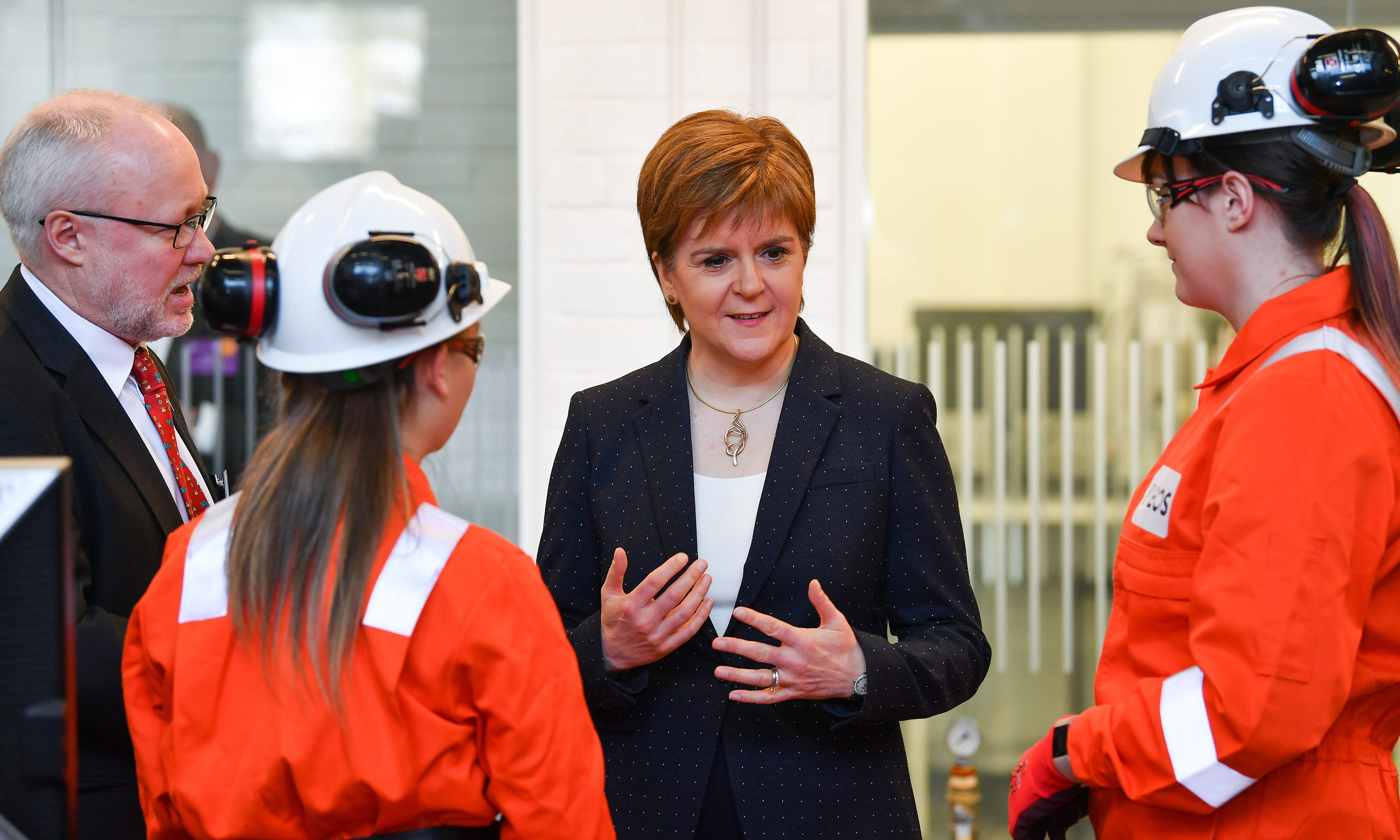 First Minister Nicola Sturgeon meets with Modern Apprentices during a visit to Forth Valley College in Falkirk to mark Scottish Apprenticeship Week.