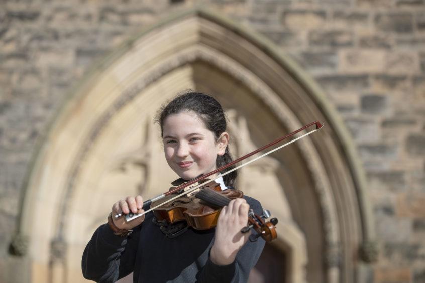 Alice O'Flynn (Breadalbane Academy) winner of the Scots Fiddle Solo, Elementary.