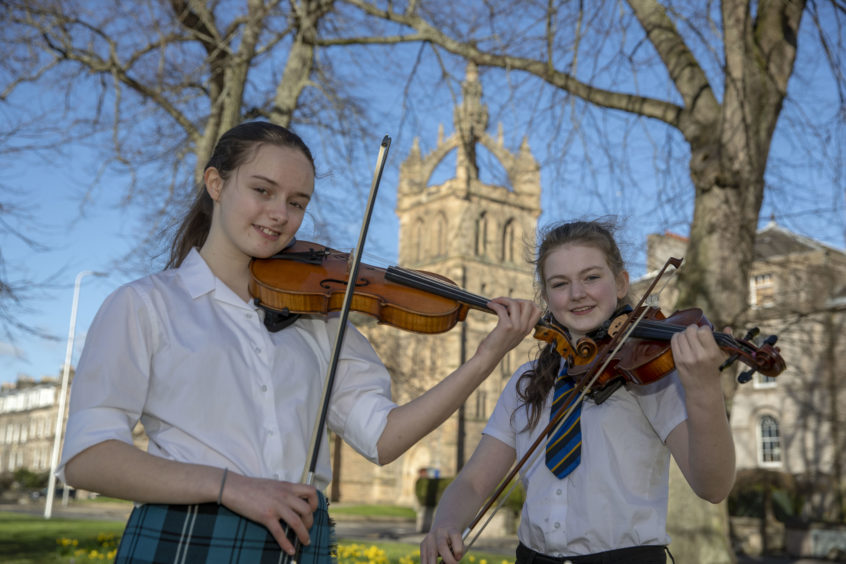 Meredith Keimer (L) winner and Heather Rodger (Runner Up) of the Scots Fiddle Solo, Under 16.