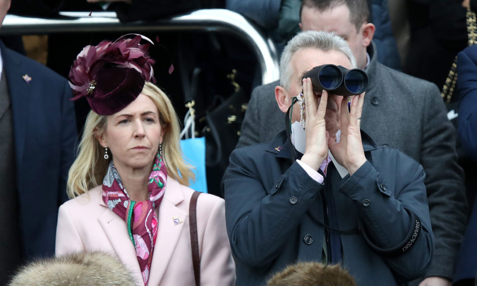 Michael O'Leary and wife Anita Farrell during St Patrick's Thursday.